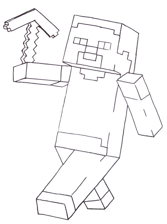 Free Minecraft style skin to color and design Printable Coloring Page