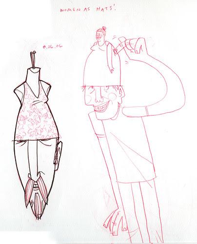 sketchdump: women as hats 1