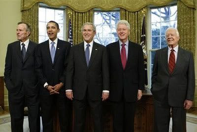 President George W. Bush poses with President-elect Barack Obama, and former presidents, from left, George H.W. Bush, Bill Clinton and Jimmy Carter, Wednesday, Jan. 7, 2009, in the Oval Office of the White House in Washington.