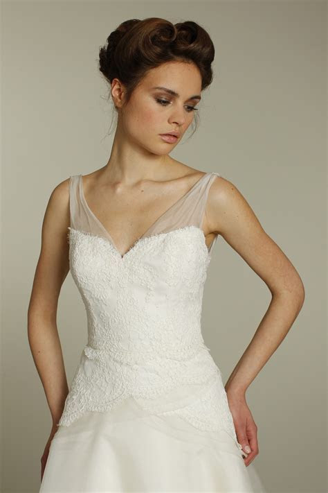Ivory a line Alvina Valenta wedding dress with on trend