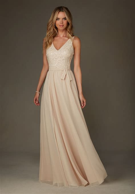 Long Chiffon with Beading Bridesmaid Dress with V Neck and