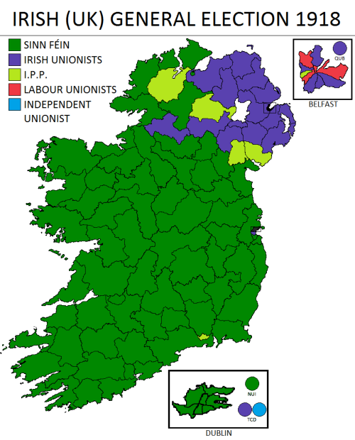 Results of the 1918 General Election . An independent Irish parliament was formed by Sinn Féin on the 21st of January 1919, which the British government refused to recognise. The Irish War of Independence followed on the same day.