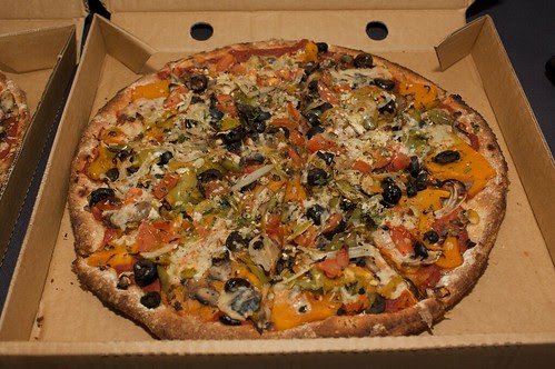 pumpkin pizza from Mr Natural Vegetarian Pizza