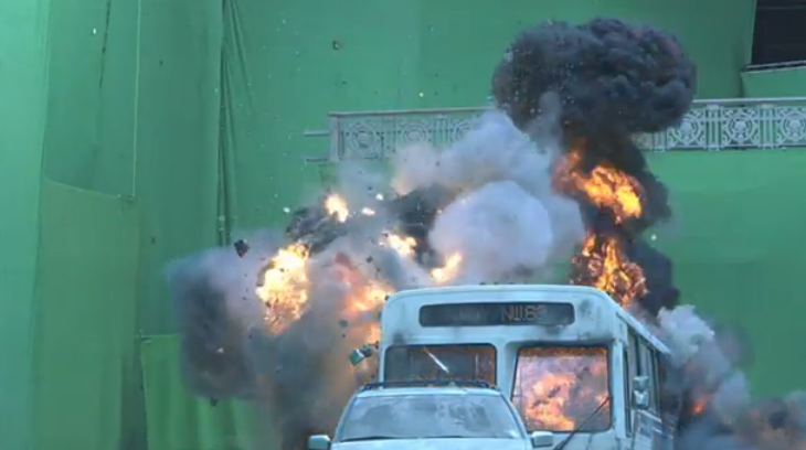 The majority of its action sequences consist of the team on a green screen set.