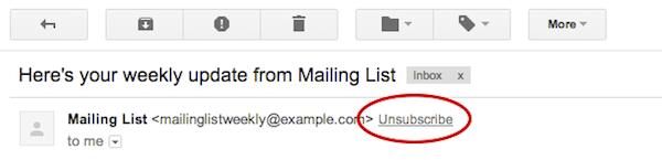 Gmail, per cancellarsi dalle mailing list basta un click