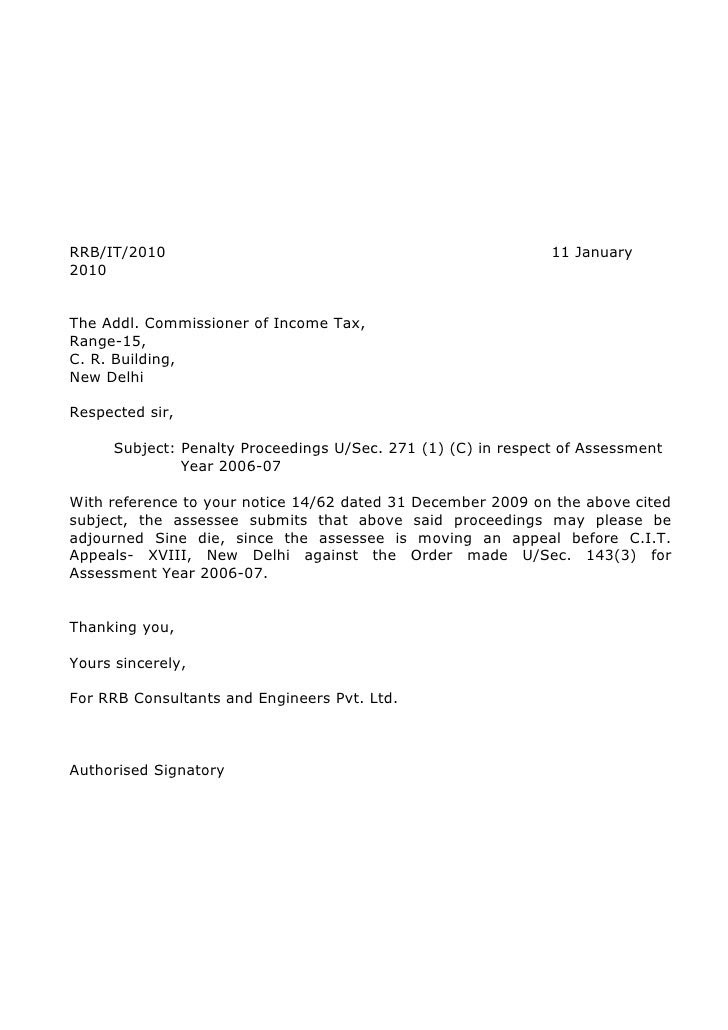 Request for adjournment letter sample.