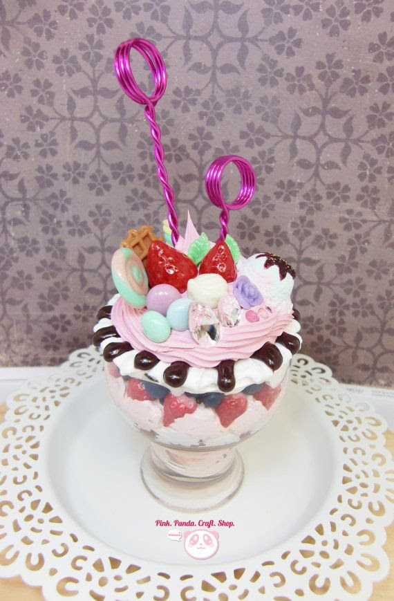 Delicious sweet deco strawberry and chocolate clay ice cream parfait photo / cards / love notes holder