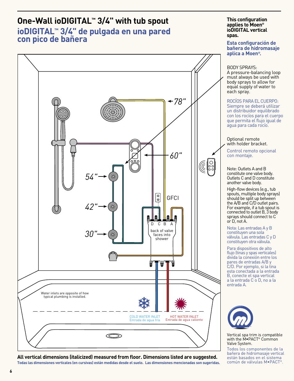 One Wall Iodigital 34 With Tub Spout Iodigital 34 De Pulgada