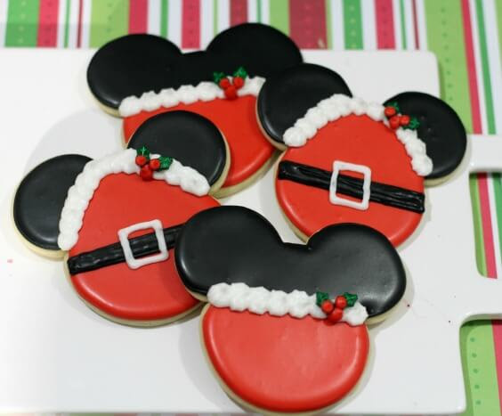 Santa Mrs Claus Mickey Mouse Minnie Mouse Cookie