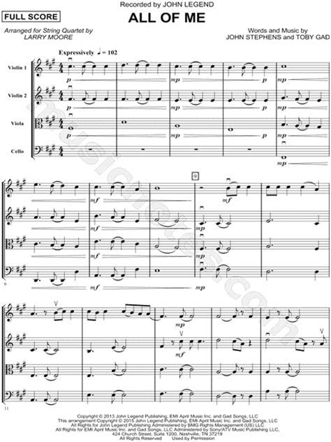 "John Legend ""All of Me"" Sheet Music in F# Minor   Download"