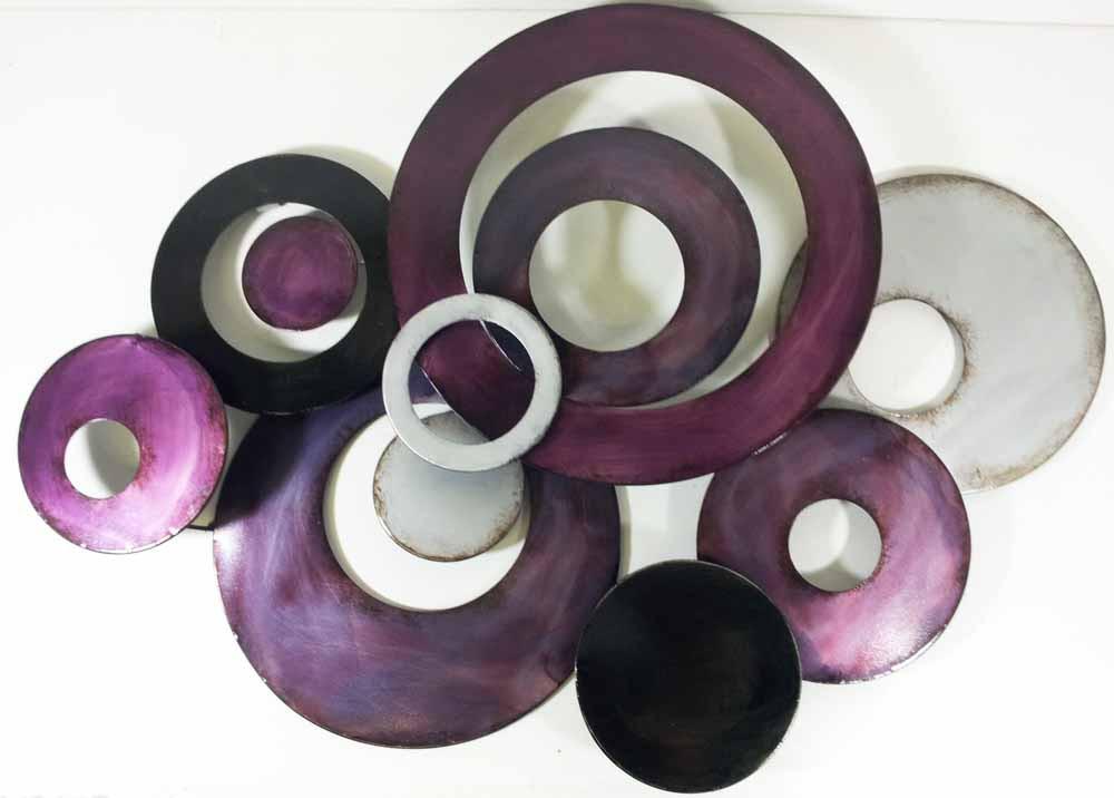 Metal Wall Art - Purple Linked Circle Disc Abstract