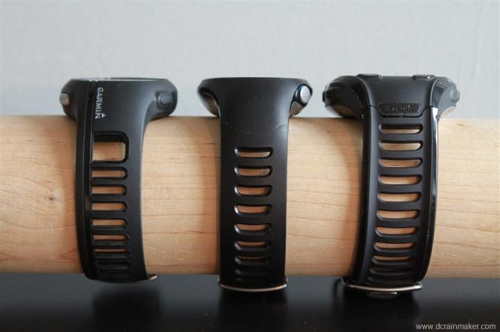 Garmin FR210, FR610 and FR910XT Size Comparison (Forerunner)