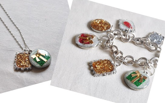 christmas charms on necklace bracelet