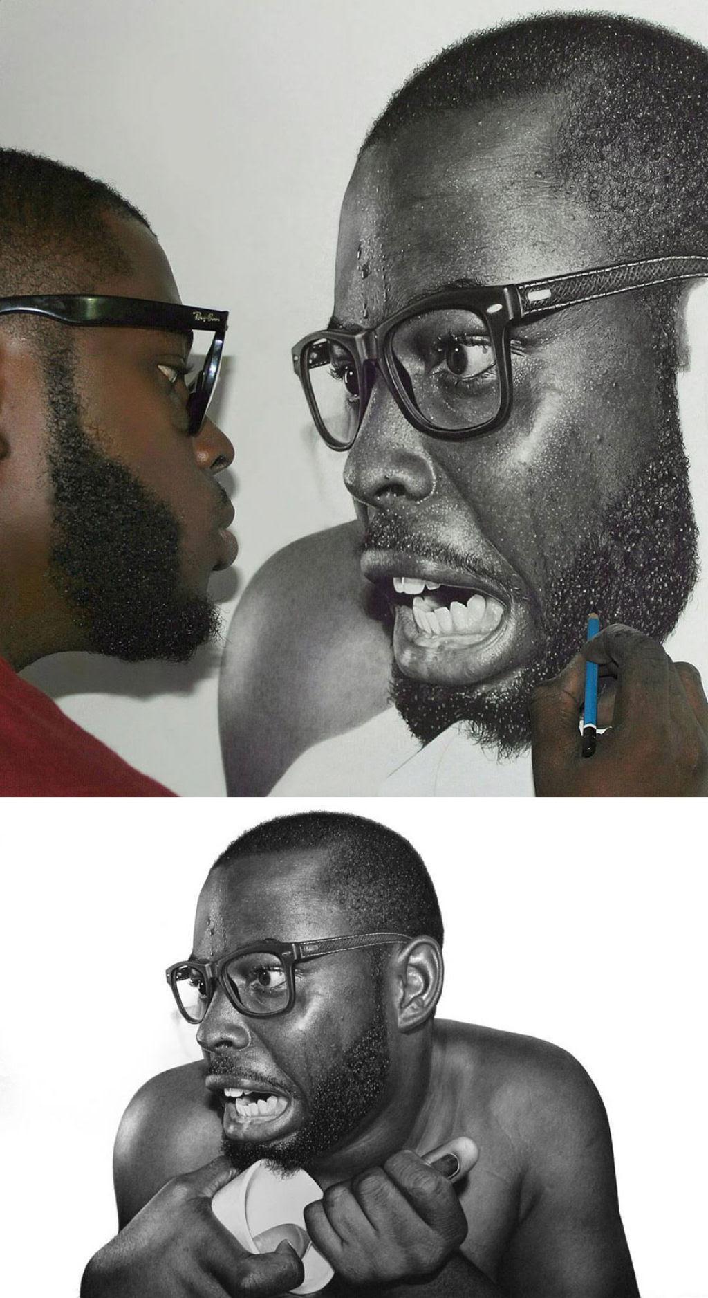 Retratos hiperrealistas de grande porte renderizados com grafite e carvão 03