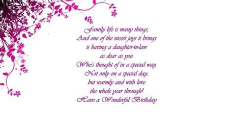 Daughter In Law Birthday Verses   Card Verses, Greetings