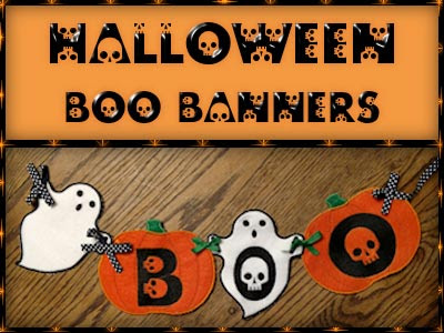Halloween Boo Banner  6 Designs<br>All Fit the 5x7 Hoop embroidery designs