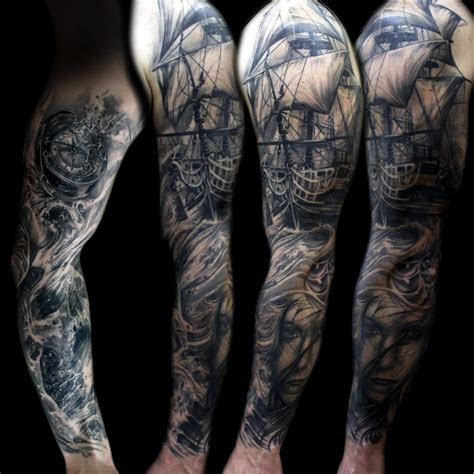 ocean ship compass sleeve tattoo mancia stygian gallery