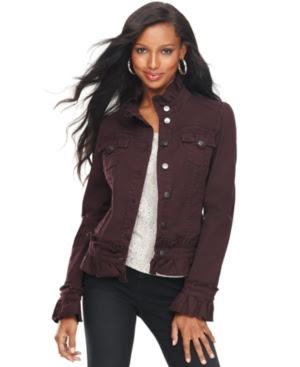 INC International Concepts Ruffle Denim Jacket