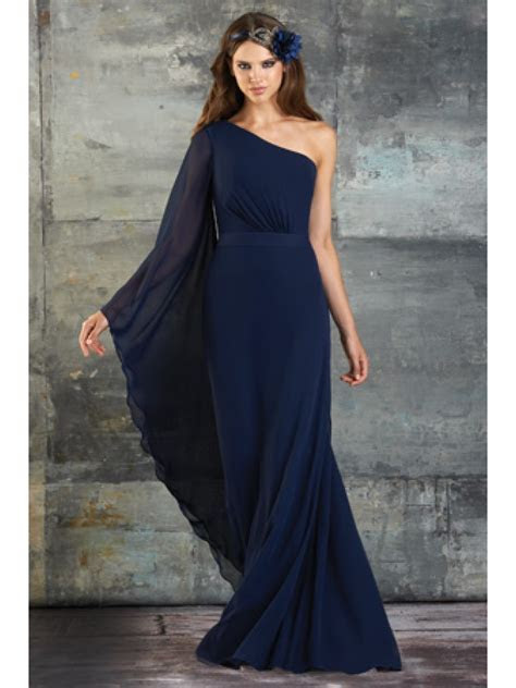 Sheath / Column One Shoulder Long Sleeve Floor Length