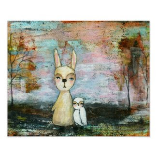 Rabbit and Owl, Woodland Animals Custom Size Posters