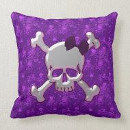Skull with Ribbon Purple Skulls & Hearts Pillow throwpillow