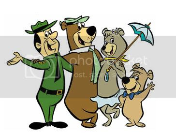 Yogi Bear clipart image featuring his friends.
