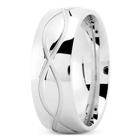 Men's Infinity Engraved Wedding Ring 8 mm 14K White Gold