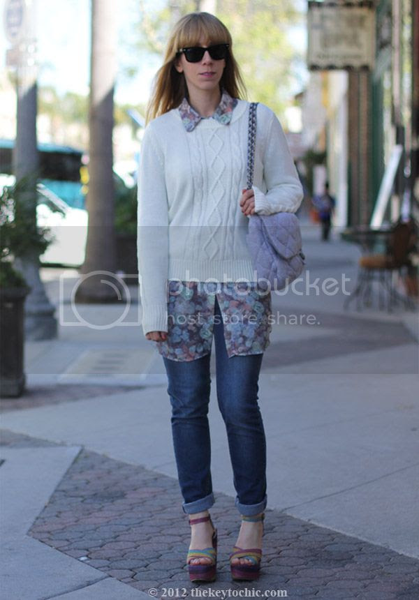 Very Volatile striped Hombre wedges, American Apparel chiffon floral blouse, Cheap Monday jeans, southern California fashion blog, Los Angeles street style