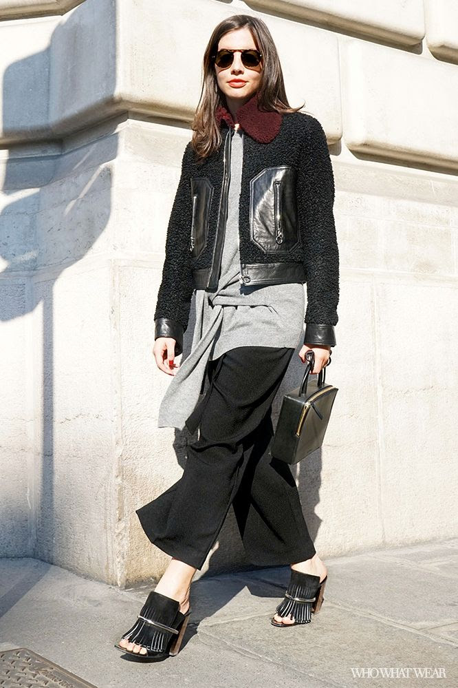 Le Fashion Blog Kat Collings Paris Street Style Sandro Boucle Fur Collar Jacket Front Tie Sweater Zipper Box Bag Cropped Pants Proenza Schouler Mules Layered Fall Style Via Who What Wear