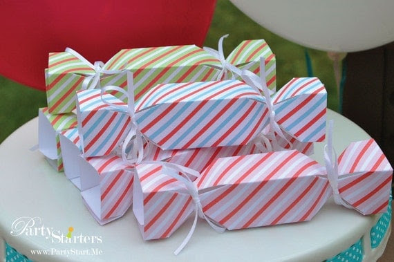 Candy Stripes Mini Candy Shaped Boxes pk of 12