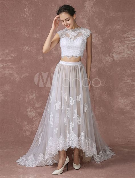 Crop Top Lace Wedding Dress High Low Tulle Bridal Gown