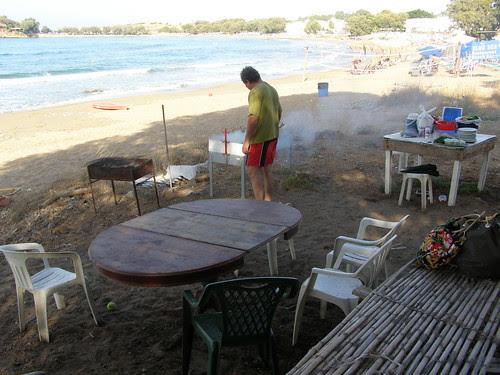 bbq at kalamaki beach hania chania