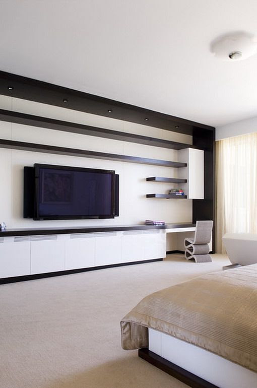 Contemporarybedroomwallunits Modern Wall Tv Unit In Master Bedroom Designs Simple And Easy