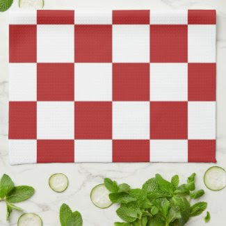 Checkered Red and White Hand Towel