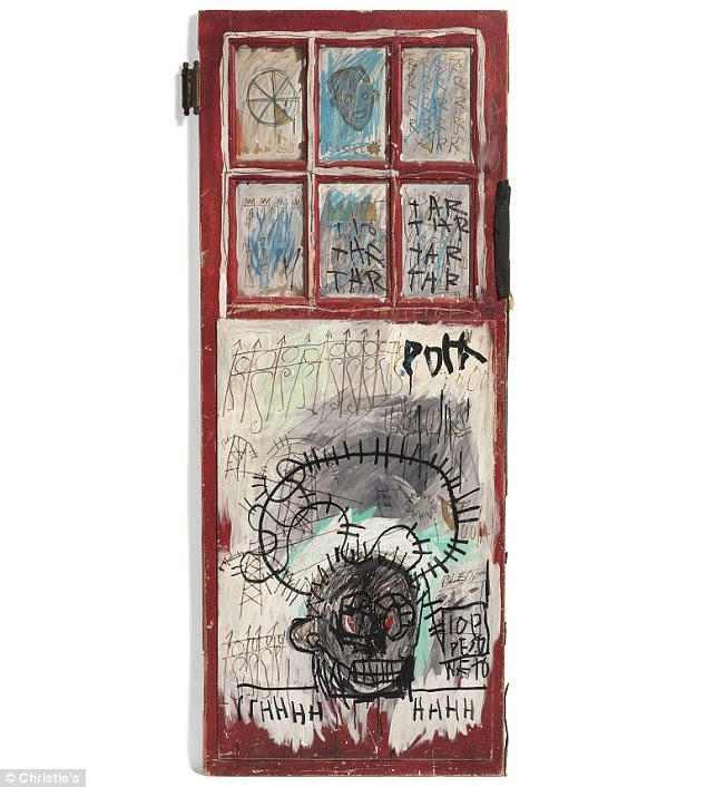 Sold: The second, another 1981 piece painted on the back of a door titled Pork (pictured), had an estimated price tag of $3-5 million. It sold to an anonymous phone bidder for $6.8 million at Christie's in London