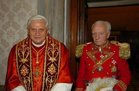 Pope Benedict with SMOM Grandmaster Andrew Willoughby Ninian Bertie