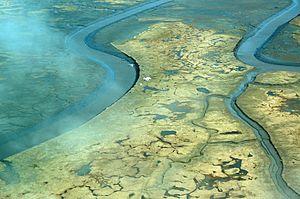 English: Aerial view of Tutakoke Bird Camp, Co...