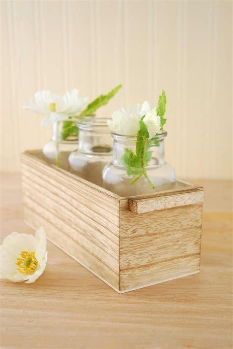 """3 Glass Bottle Vases in Wood Box 10"""""""