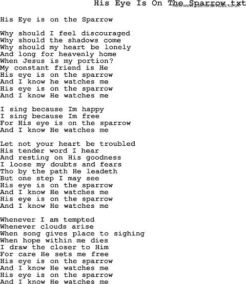 Lyrics To His Eye Is On The Sparrow