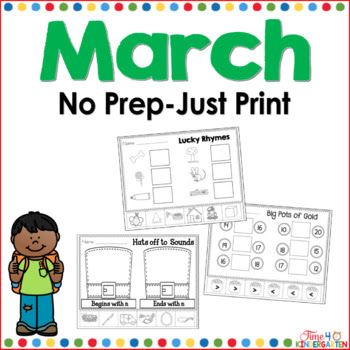 March no prep just print pack for kindergarten
