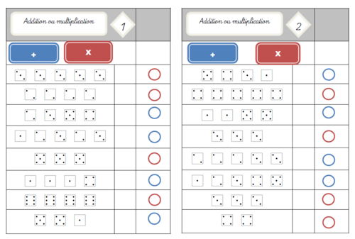 Cartes multi choix : Addition ou multiplication?