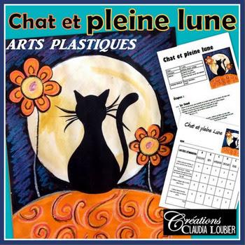 Arts plastiques  - Chat à la pleine lune - Français