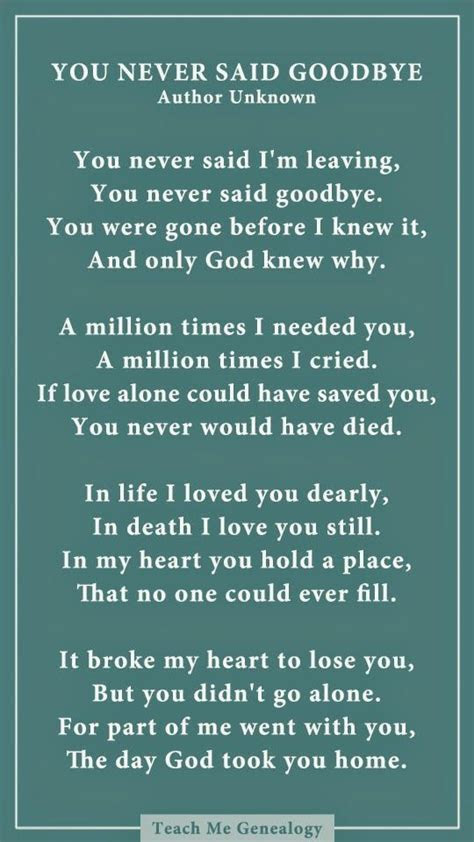 Dad You Never Said Goodbye: A Poem About Losing a Loved