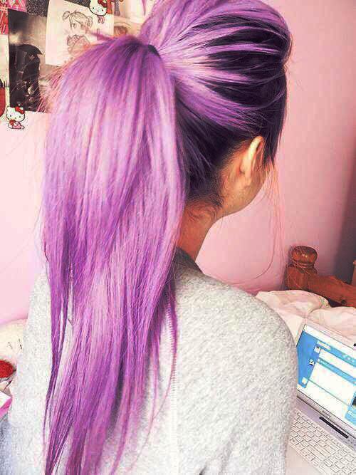 hair cute purple hair cute girl long hair pastel hair pony ...