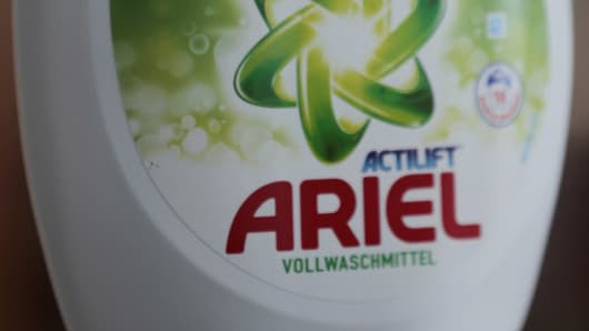 An Ariel liquid detergent bottle with an '18' on it sits in Berlin Germany, Friday, May 9, 2014.