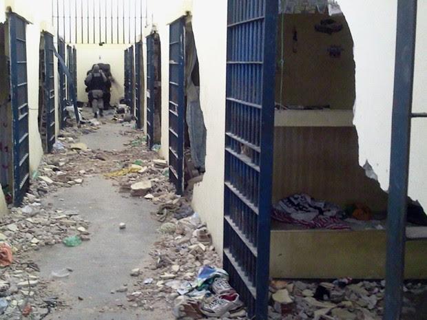 Após tumulto, Pavilhão 2 do PB2 ficou destruído (Foto: Divulgação/Seap)