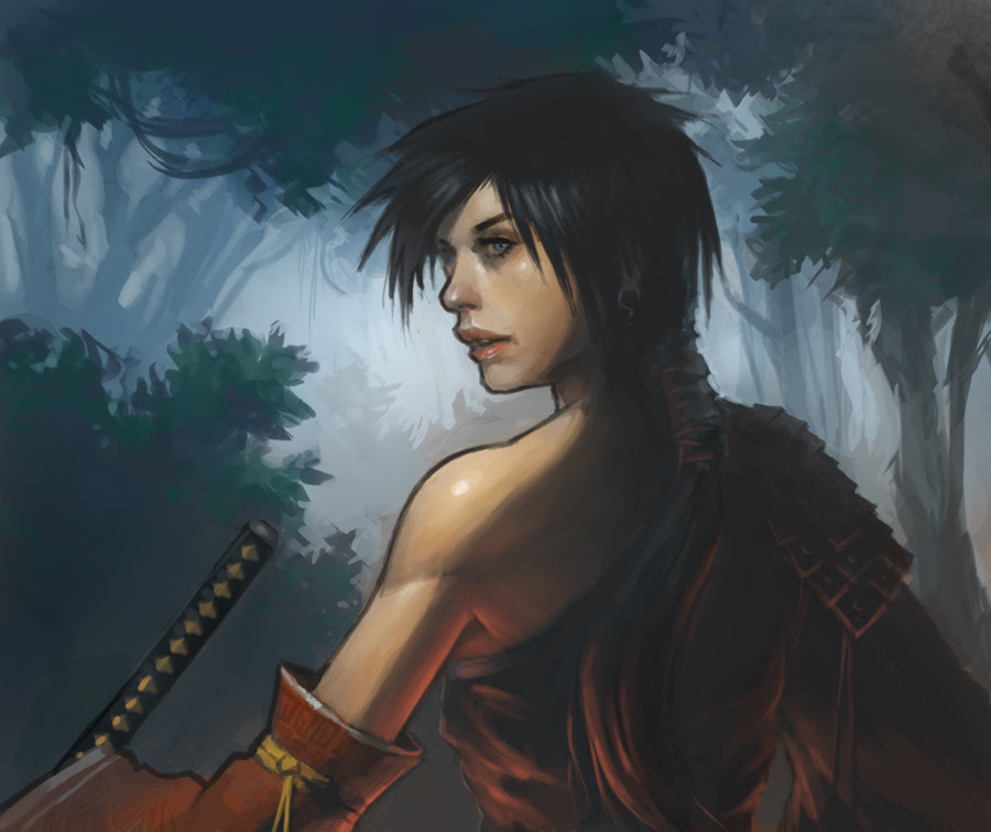 rogue samurai woman digital painting