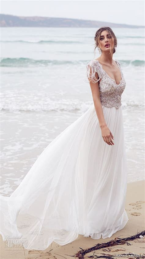 Beach Style Embroidered Wedding Dresses for Women