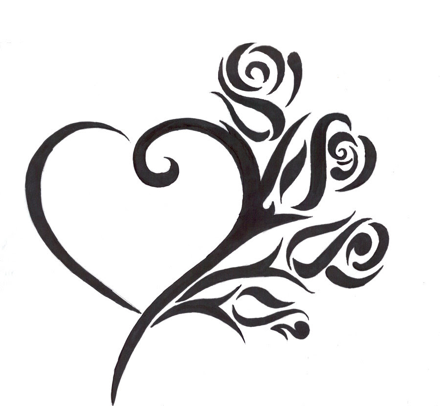 Free Tribal Heart And Flower Tattoo Designs Download Free Clip Art