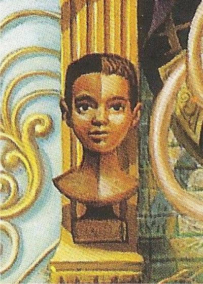 Um olhar um pouco mais atento já vê um menino com um rosto de duas cores: branco e negro
